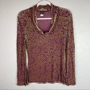 Hanky Panky Long Sleeve Cowl Neck Velvet Pullover